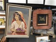 Sale 8759 - Lot 2094 - 2 Works: Framed Oriental Dragon with a Framed Tapestry of a Young Girl