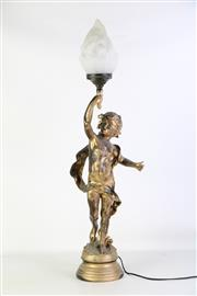 Sale 8905S - Lot 649 - A cherubic painted table lamp. Height 90cm