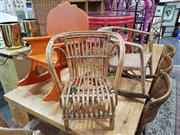 Sale 8912 - Lot 1049 - Pair Of Cane Kids Chairs & Timber Rocking Chair (3)