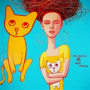 Sale 8959A - Lot 5030 - Constantine Popov (1965 - ) - The Cat Lover 152 x 152 cm (total: 152 x 152 x 3cm)
