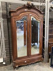 Sale 9085 - Lot 1089 - Louis XV Style Walnut Armoire, with arched cornice, two shaped mirror panel doors & a long drawer - key in office (H:235 x W:135 x D...