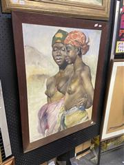 Sale 9028 - Lot 2024 - Bakar Portrait of Two African Women, oil on canvas frame: 90 x 70 cm, signed and dated lower left