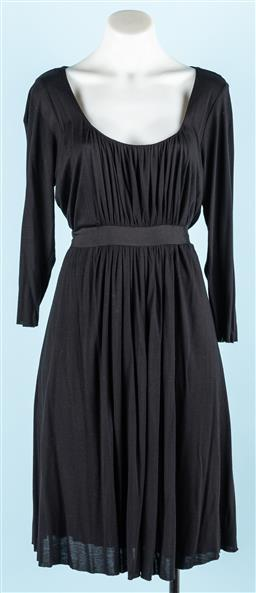 Sale 9092F - Lot 52 - A BLACK VELVET DRESS; with long sleeves & tie up high waist belt. Size S