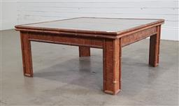 Sale 9191 - Lot 1013 - Vintage cane square coffee table with glass top (h42 x d92cm)