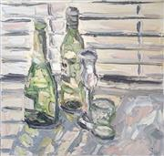 Sale 8336A - Lot 5 - Sally	West	 - GREEN BOTTLES oil on canvas