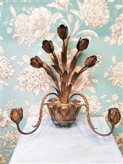 Sale 8500A - Lot 8 - A vintage Italian Gilded Tulip Toleware Wall Candelabra. Featuring Tulip & basket design. Measurements: 56cm high x 47cm wide