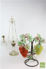 Sale 8524 - Lot 71 - Crystal Candelabra Together with Grape Motif Lamp