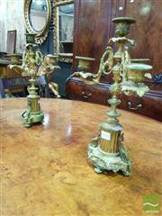 Sale 8539 - Lot 1031 - Pair of 19th Century French Gilt Brass Candelabras, having four lights & three branches, raised on fluted socles, each H 35cm