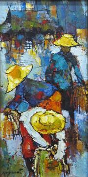 Sale 8652A - Lot 5058 - Noparat Livisddhi (1932 - ) (Thai) - Fishermen Beneath Kelong Houses 50 x 25cm (frame: 65 x 40cm)