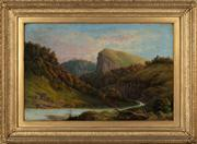 Sale 8804A - Lot 41 - S. Pearce Fuller (Aus/NZ active 1870s-1910s) - Creek Through the Hillsides, 1878 49cm x 75cm