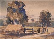 Sale 8901A - Lot 5093 - Claredon Davis Parker (1903 - 1998) - Farm Houses, Tweed Valley 26 x 36 cm