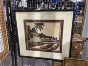 Sale 8936 - Lot 2097 - A Fijian Island Scene painted on barkcloth by Unknown Artist
