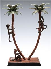 Sale 9090 - Lot 2 - Cast Iron figural candle holder depicting monkeys under palm trees (H39cm W31cm D12cm)