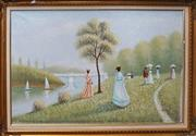 Sale 8320 - Lot 608 - Very large oil painting on canvas in a manner of French Impressionists