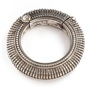 Sale 8517A - Lot 84 - A South Indian silver hinged bangle with ridge, 75g, outside D 8cm