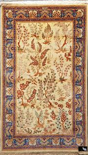 Sale 8714 - Lot 1087 - Qum Silk Tavasolie Carpet, signed, with & floral design on cream ground 148 x 101 cm (Certificate in office)
