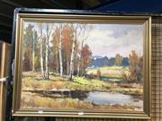 Sale 8759 - Lot 2039 - F Laura - Autumn Country Landscape, oil on board, 67.5 x 57.5, signed lower right