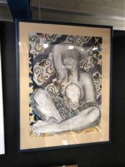 Sale 8903 - Lot 2070 - Karin Donaldson Seated Nude & Curiosities mixed media on paper, 93 x 73cm (frame)
