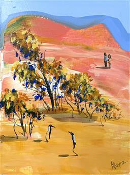 Sale 9103 - Lot 2007B - Adam Bogusz Lovebirds oil on board 21 x 15cm, signed -