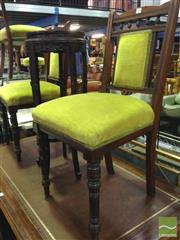 Sale 8412 - Lot 1098 - Pair of Green Upholstered Chairs
