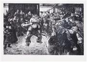 Sale 8657A - Lot 5067 - Heinrich Zille (1858 - 1929) - Ringkanmpf in der Schabude (Wrestling in the Schaubude), c1915 17.5 x 23cm