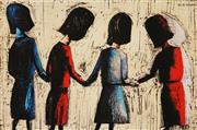 Sale 8781A - Lot 5051 - Charles Blackman (1918 - 2018) - Four Schoolgirls 28.5 x 43cm