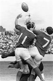 Sale 8754A - Lot 24 - NSW vs Ireland, Irish Rugby Union Tour of Australia, Sydney Sports Ground, 6 May 1967 - Irish Forwards Denis Hickie and Michael Moll...