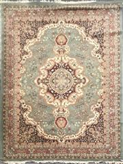 Sale 8826 - Lot 1027 - Green Tone Woollen Rug with Centre Medallion - Made in Romania (400 x 300cm)