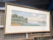 Sale 8819 - Lot 2044 - Gladstone Eyre - River Bend, Watercolour, 22.5x 68cm