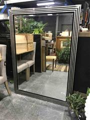 Sale 8934 - Lot 1078 - Black & Silver Coloured Framed Bevelled Edge Mirror (152 x 111cm)