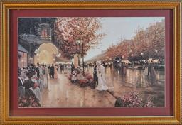 Sale 9098H - Lot 71 - An Edwardian print after C.Kielle fitted with electric street lights in a gilt frame. Frame size 66cm x 96cm
