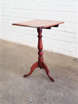 Sale 9126 - Lot 1094 - Small Possibly Cedar Tilt-Top Wine Table, the shaped square top with rustic tilt-action, raised on a turned pedestal (H: 72 cm)