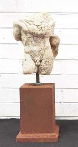 Sale 9108 - Lot 1002 - Bust of a male torso on plinth (h61cm)