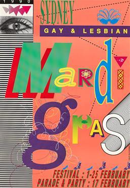 Sale 9212A - Lot 5095 - DAVID MCDIARMID Sydney Gay & Lesbian Mardi Gras, 1990 poster 68 x 48 cm (frame: 75 x 55 x 3 cm) .