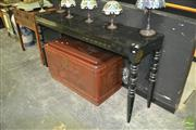 Sale 8440 - Lot 1002 - Modern Black Lacquer Console Table w 2 Drawers