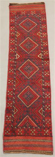 Sale 8438K - Lot 54 - Tribal Meshwani Runner | 247x53cm, Pure Wool, Unique Afghan tribal Meshwani rug, handwoven in Northern Afghanistan by nomadic people...