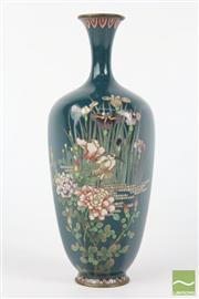 Sale 8516 - Lot 38 - Hexagonal Dark Green Cloisonne Vase Possibly Namikawa Yasuyuki