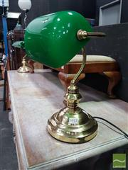 Sale 8554 - Lot 1012 - Pair of Green Shade Bankers Lamps