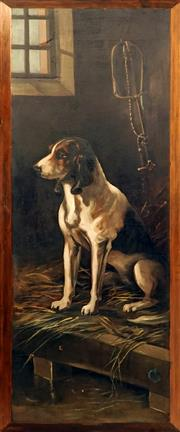 Sale 8929 - Lot 600 - Artist Unknown (C19th) - Hunting Dog 94 x 34 cm