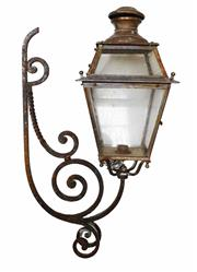 Sale 8960J - Lot 41 - A large vintage French wrought iron and copper wall lantern 95 x 53 cm