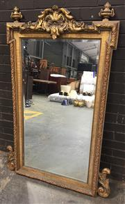 Sale 8976 - Lot 1051 - Louis XIV Style Gilt Mirror, with central cresting & articulated corners (H:151 x W:106cm)