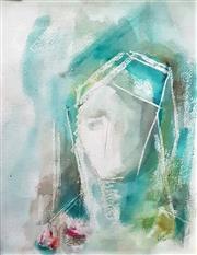Sale 9058 - Lot 2011 - Gillian Hook  Portrait, 1974, watercolour, frame: 44 x 34 cm, signed lower right