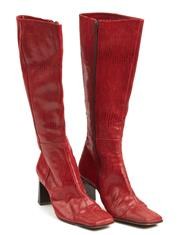 Sale 9071F - Lot 3 - A PAIR OF ROBERT ROBERT KNEE HIGH BOOTS; in red leather with square toes and block heels, size EUR 36