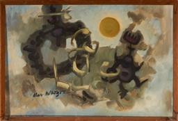 Sale 9116 - Lot 587 - Alan McIntyre (1913 - 2002) Figures Dancing in the Moonlight oil on canvas 50 x 74.5 cm (frame: 53 x 78 x 6 cm) signed lower left