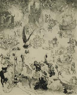 Sale 9161 - Lot 551 - NORMAN LINDSAY (1879 - 1969) Capriccio etching ed. 24/55 30 x 24.5 cm (frame: 74 x 63 x 4 cm) signed lower right