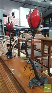 Sale 8390 - Lot 1503 - Pair of Tulip Table Lamps