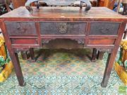 Sale 8444 - Lot 1024 - Chinese Desk or Side Table, with three drawers, the centre with lock & carved brackets