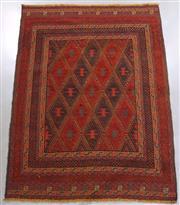 Sale 8438K - Lot 55 - Tribal Meshwani Kilim Rug | 190x142cm, Pure Wool, Unique Afghan tribal Meshwani rug, handwoven in Northern Afghanistan by nomadic pe...