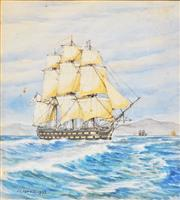 Sale 8657A - Lot 5066 - Joseph Charles Fowell (1891 - 1970) - Tall Ship At Sydney Heads, 1932 28 x 24.5cm