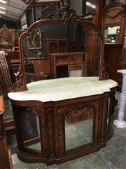 Sale 8666 - Lot 1071 - Victorian Burr Walnut Credenza, the carved mirror back above a white marble top & three arched mirror panel doors